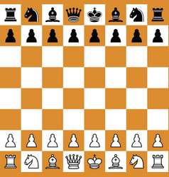 chess checker board with chess pieces vector image
