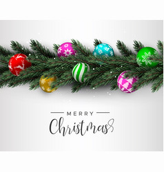christmas pine tree wreath and colorful ball card vector image