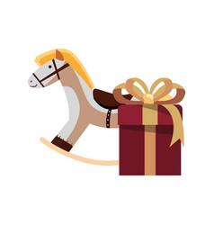 christmas rocking horse gift box vector image