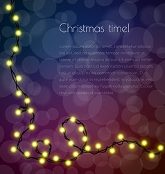 Christmas template for congratulation with garland vector image