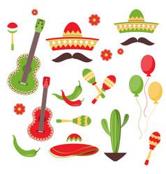 Cinco de mayo celebration in mexico icons set vector