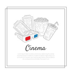 cinema banner template tickets 3d gasses soda vector image