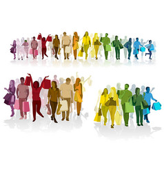 colorful crowd shopping people vector image