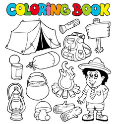 Coloring book with camping images vector