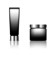 Cosmetic packaging black color designed vector