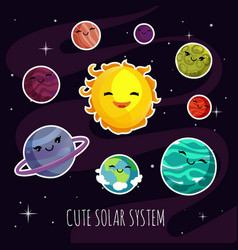 cute and funny cartoon planets stickers of solar vector image
