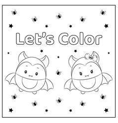 cute lets color halloween bats vector image
