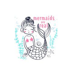 Cute mermaid t-shirt design with slogan vector