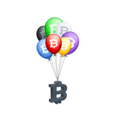 different colored balloons carrying bitcoin symbol vector image