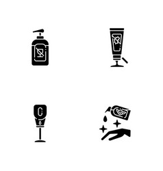 Disinfectant hand sanitizers black glyph icons vector