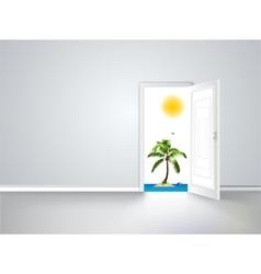 Door to island view behind an open door concept vector