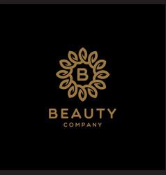 Elegant luxury flower logo design vector