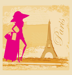 Elegant tourist in paris abstract card vector