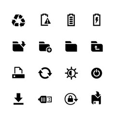 energy and storage icons vector image vector image