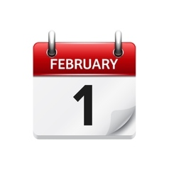 February 1 flat daily calendar icon Date vector