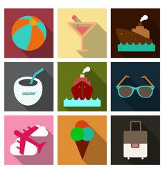 Flat icons set with long shadow effect vector