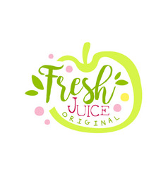 Fresh juice original logo template apple juice vector