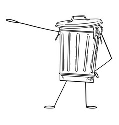 Garbage bin or can cartoon character pointing at vector