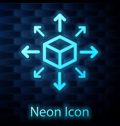 Glowing neon distribution icon isolated on brick vector