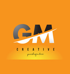 Gm g m letter modern logo design with yellow vector