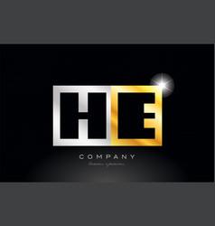 gold silver alphabet letter he h e combination vector image