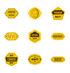 Golden retro badges icons set flat style vector