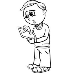 Grade school boy cartoon coloring page vector