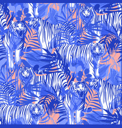 graphic seamless patterns of tigers in different vector image
