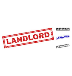 Grunge landlord scratched rectangle stamp seals vector