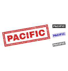 grunge pacific scratched rectangle watermarks vector image