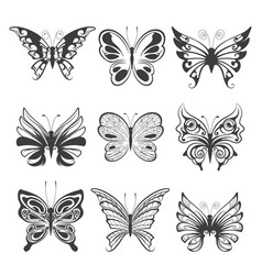 hand drawn butterflies set isolated on white vector image