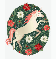 Hand drawn unicorn with winter floral background vector