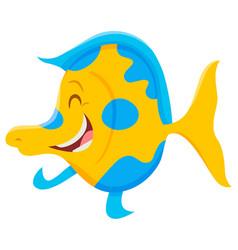 happy cartoon fish animal character vector image