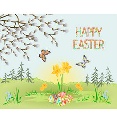 happy easter spring landscape forest narcissus vector image