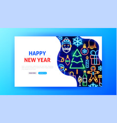 happy new year neon landing page vector image