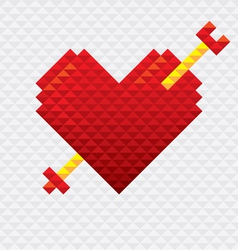 Heart Shape with Arrow Mosaic Style vector image