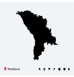 high detailed map moldova with navigation pins vector image