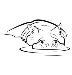 Hippo in water vector