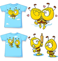 Kid shirt with cute bees - isolated on white back vector