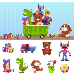 kids toys box children toy container with playing vector image