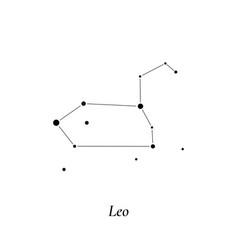 leo sign stars map zodiac constellation vector image