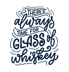 lettering poster with quote about whiskey in vector image