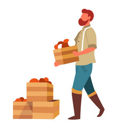 Man farmer carrying vegetables boxes to market for vector