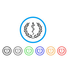 Medical honor laurel wreath rounded icon vector