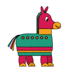 Mexican pinata donkey cartoon isolated icon vector