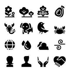 Nature life icon set vector