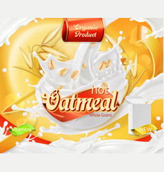 oatmeal oat grains and milk splashes 3d realistic vector image