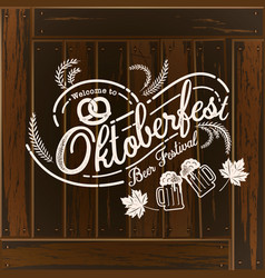 oktoberfest hand drawn lettering and beer glass vector image