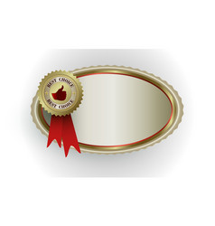 oval frame of gold color with a sign of the best vector image