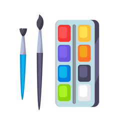 palette with paints and two brushes icons vector image